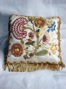 Goldwork Cushion Flowers